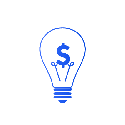 Illustration of a dollar sign in a lightbulb